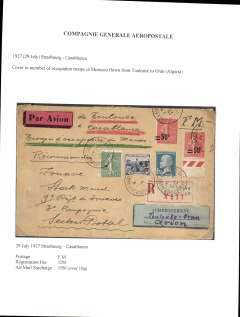 (Selections) Compagnie Generale Aeropostale, 1924-32, a selection of 17 airmail covers carried wholly, or in part, by CGA to/from, Belgian Congo, Senegal, Morocco, France, French Sudan, Algeria, Czechoslovakia and Switzerland.  Written up on leaves with useful information such as routes, other carrier airline(s), and the ordinary and airmail surcharge rates applied to that item - data which would otherwise be difficult to gather. A  nice starter lot.
