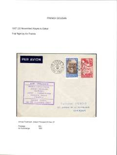 (Selections) French West Africa, fine collection of 20 airmail covers, 1934-39,  flown from Gabon, Mauritania, Niger, Dahomey, Senegal, French Sudan, Togo and French Guinea by (Compagnie des Chargeurs Reunis) Aeromaritime, Air France, La Comppagnie Generale Transsaharaienne, and Air Afrique.  Written up on exhibition pages and, for most items, the accompanying text also also details the carrier airline(s),  the route taken, and the ordinary and airmail surcharge rates which were applied to that item - important supplementary data which might otherwise be difficult to gather. A fine lot all ready for display. Scans of all covers in this collection will be found on the web site.    written up on album leaves