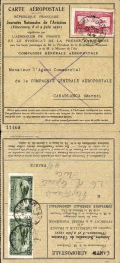 (Selections) French North Africa, fine collection of 30+ airmail covers from 1919 (mostly 1930's) carried by Air Union, Compagnie Aerienne Francaise, Air Afrique, Aeropostale and Sabena, from Tunisia, Algiers and Morocco to France, Germany, Great Britain, Netherlands, Turkey, England, Switzerland. Noted several F/F's, interesting Jusqua's and directional hs's, 1944 censored Forces Mail, a 1919 Military Service F/F Zarzis-Ben Gardane and three early sepia PPC's. Twenty are written up on exhibition pages with details the carrier airline(s),  the route taken, and the ordinary and airmail surcharge rates which were applied to that item - important supplementary data which would otherwise be difficult to gather.  A scan of  each tem can be viewed on the web site.