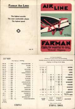 (Selections) Farman Airlines (Lignes Aeriennes Farman) launched the world?s first international airline service on 22/3/1919 flying on a weekly basis between Brussels, Belgium, and Paris, and in 1922 opened a through service from London-Paris-Switzerland. A 29 item study containing a 1927 time table and fares for the Paris-Amsterdam-Scandinavia, Paris-Cologne-Scandinavia, and Paris-Berlin-Moscow services, a summer 1933 Farman Airlines/Air Union timetable and fares for the France-England, Germany, Scandinavia, Holland, Belgium, Swizerland and the South of France, Marseilles, Corsica, North Africa services, 8 PPC's including six publicity cards produced by LAF (SGTA), an unused LAF/SGTA radiotelegramme form, an LAF route map and one page history, two posters (one original), ten covers flown by LAF (1922-33) and written up on album leaves, a 1929 LAF vignette, an August 1933 letter written on Air Union/Lignes Farman company notepaper, and a two page article on Pioneer Farman airliners. Will make a superb, and rare, exhibit.  A scan of each tem in this collection can be viewed on the web site.
