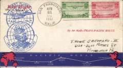 (Selections) Pan American Airways collection of 50+ FAM first flights, 1930's (12), 1940's (26), 1950's (15), 1960 (1), 1962 (1) and 1964 (1) with Africa, Asia ,Australia, Malaya, Middle East, India, China, Hong Kong, New Zealand, Pacific Islands, Philippines, West Indies and South America origins and destinations, good to fine.  See scans on website.