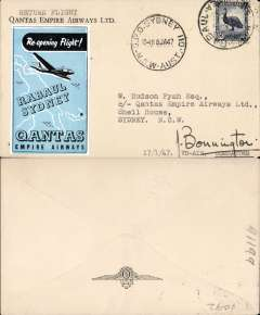 (Selections) Papua New Guinea, collection of 14 airmail covers from 1934, including seven first and special flights, noted are 1934 F/F NG to Australia, 1934 F/F Papua-Australia, 1936 Papua to Melbourne Cup, 1947 Qantas return flight Rabaul to Sydney signed by pilot ,1956 Taskul Patrol Post/12 Aug 56. See web site for front and back scans of all covers in this lot.