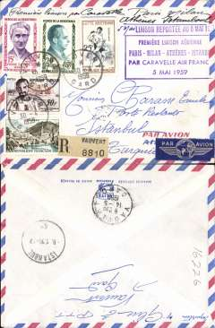 (Selections) France, eleven airmail covers with attractive frankings, 1933-69, noted 1933 to Dakar, and ten F/F's including to Melbourne, Tehran, Karachi, Papeete, and Istanbul. Cheap starter lot, all scanned on website.  £5.00