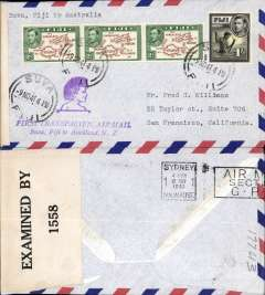 (Selections) Fiji, twelve airmail covers 1941-76, including eleven F/F's, and OHMS 'Fiji Official Paid' airmail cover to Australia. Nice starter lot, all scanned on website. £20.00