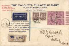 (Selections) India, 35 airmail covers including early F/F's, noted are 1929 Karachi-London, Delhi-London, Calcutta-London (2), Johdpur-Delhi, 1933 Calcutta-Karachi, 1937 Bombay-Delhi, 1947 Calcutta-New York, 1960 Bombay-New York, 1964 Bombay-New Delhi. Useful starter lot, all scanned on website.