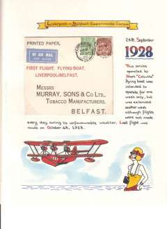 (Selections) Ireland, collection of 25+ air mail covers including 14 first flights, noted 1928 Experimental Flying Boat to England (2), 1929 Galway-London,  1932 Galway-Berlin, 1939 IAW to New York, 1939 Pan Am to Shediac, and another to New York, 1951 BEA Night Airmails (2), Aer Lingus 1964 Dublin-Canada and 1965 Dublin to Dusseldorf.  All scanned on website.