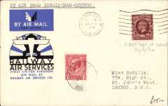 (Selections) GB Railway Air Service, 20 first flights, all official blue/black/white souvenir covers and all postmarked 20 August, 1934. All scanned on website.