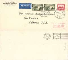 (Selections) Pan American Airways collection of 22 first flights from 1930  covering a wide variety of routes, foreign frankings include Ireland, Panama, Nigeria,  Brazil, Philippines, France, Portugal, Czechoslovakia and New Zealand, nice array of cancels, cachets, markings and routes. Noted 1930 Panama-Havana, 1937 Auckland-San Francisco, 1937 San Francisco-Hong Kong, 1941 Lagos to Bathurst, and another to Belem, See web site for front and back scans of all covers in this lot.