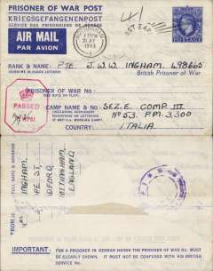 (Selections) WWII Forces Mail, interesting collection of 20 airmail covers/letters, sent from GB, Australia, PNG, Italy and overseas PFPO's, noted are a Prisoner of War envelope to Italian POW camp with GB and Italian censors, green/buff 'Honour' envelope, a cover from Morotai, Indonesia to Hobart  franked Australia stamp, and a 1957 letter with a fine Christmas Island/BFPO cds. See web site fro front and back scans of all items in this lot.