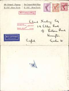 (Selections) Europe, collection of 35+ airmails mostly 1930's-50's from Germany, Netherlands, Belgium, Saar and France and including 21 first and special flights  Noted are 1930 Bremen catapult Germany-New York, 1933 KLM 'Pelikaan Gravenhage-Bandoeing, 1935 Hindenburg Frankfurt-New York, 1936 Amsterdam-Curacao, 1938 KLM Emergency flight to isolated islands, 1940 LATI Berlin to Rio de Janeiro, 1955 Hamburg to Portuguese India.  Needs to careful examination, so view the front and back of each item in this collection on our web site.