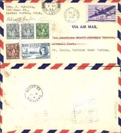 """(Selections) Early Post war test flights 1946, collection of  seven Pan Am early post war test flights to Bolivia, Panama, Brazil, St Lucia, Argentina, Costa Rica and Peru prior to the re-opening of services to South and Central America. See March 1996 American Philatelist describing such covers as """" souvenirs of an important new rate which is not listed in AAMC"""", and the article in Apr/June 1998 JLKAL by R Saundry about the, as yet, unrecognized, scarcity of these covers. Scans of the front and back of all covers in this collection will be found on the web site."""