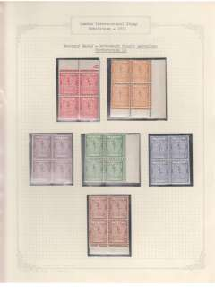 (Selections) The Mercury Essay, London International Stamp Exhibition 1923, a  study displayed on ten sheets. The essay was  produced in six colours, on paper with single and multiple aeroplane watermarks, and in two different perforations. This collection presents all known combinations of these, most are in control blocks of 4, 6, 8, 12, or 21 (some 180 or so stamps in all). Ready for immediate display. Scans of each sheet will be found on the web site. NOTE: all leaves and stamps are fine. Any discolouration seen on a scan is from its cellophane protector.
