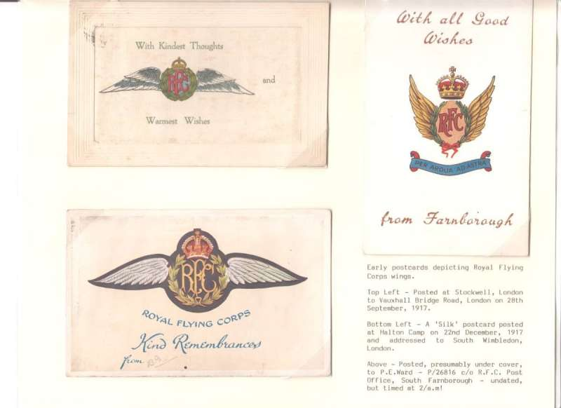 (Collections) Royal Flying Corps (RFC), a scarce display of five postcards, 1914-17, each depicting RFC wings. Three were postally used, one is unused embroidered silk and the other was embroidered by hand. They were often purchased as souvenirs or sent under cover to the addressee. The RFC predated the RAF which was formed in 1918. Image.