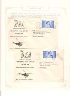 (Selections) BEA experimental mail carrying helicopter service established in East Anglia on 1/6/48, a collection of 9 covers displayed on 10 sheets including Peterborough to Kings Lynn, Wells, Sheringham, Cromer, Norwich and Great Yarmouth; and from Great Yarmouth to Peterborough and Norwich to Peterborough. Also Peterborough to Norwich and same day return and letters from BEA, PO Peterborough and PO Thetford.