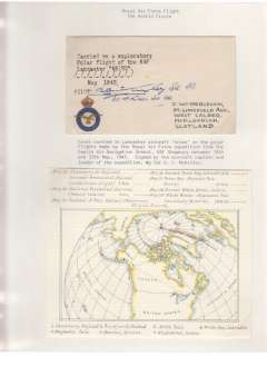 (Selections) RAF Meteorological Reconnaissance Flights, an exceptional collection displayed on nine leaves comprising a cover carried on the Polar flight of the RAF Lancaster 'Aries' on 10/5/45 and signed by the pilot and expedition leader; one of only three covers carried by Canberra Jet Bomber 'Aries IV' to the N. Pole on 13/12/54 and signed by the navigation officer D Bower; and a cover flown in an RAF Canberra in a navigation exercise to the Arctic Circle and signed by W/CDR IG Broom, the squadron commander. Also two pages of explanatory text and sundry related items. This exhibit is a good example of how much aerophilately and aviation history have in common. NOTE: all leaves and stamps are fine. Any discolouration seen on a scan is from the protective cellophane sheet.