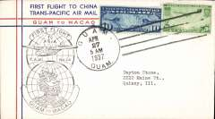 (Selections) China Clipper extension of Trans Pacific service to Macao and Hong Kong, collection of 15 first flights, all different, fully cacheted and back stamped, fine. See web site for front and back scans of all items in this lot.