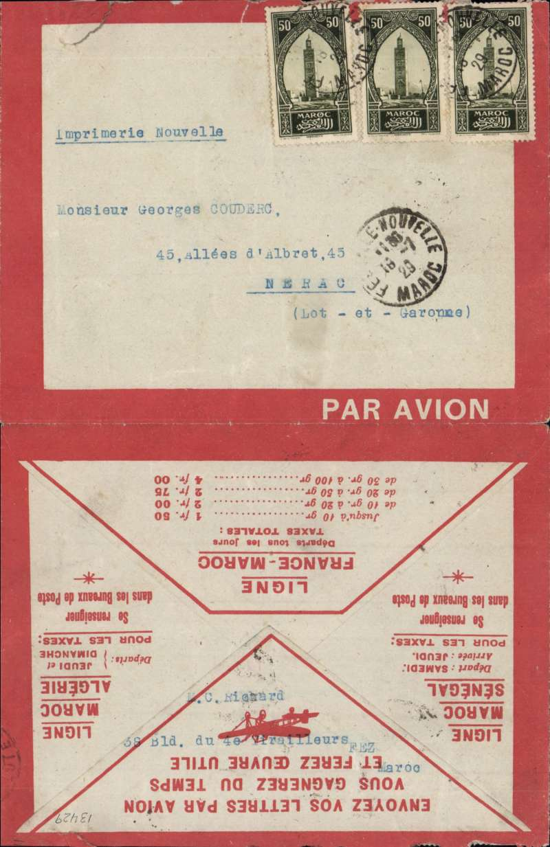(Collections) French Africa, 1926-47 miscellany of 17 attractive flown covers from Morocco, Senegal, Tunisia, Ivory Coast, Madagascar, French Soudan, Dahomey, Cameroon, and French Somalia with lovely frankings, an impossible-to-miss red-bordered envelope (closed top edge tear), a scarce 1926 registered Latecoere company cover, and an obsolete 1935 Air Orient cover sent from Henri Truc to Franc Muller. Flight destinations to the US, France, Great Britain, Switzerland, Holland, Germany and Chad, instructional, directional, and Marseille's jusqua's hand stamps, and censored covers from Cameroon and Dahomey. A few covers have minor flap damage and faint folds so on line inspection is recommended. Life size front and back images of  every cover in the collection will be found on the web site. So view in the comfort of your own home and avoid the cost and hassle of a journey to the auction house and any risk of having to bid blind.