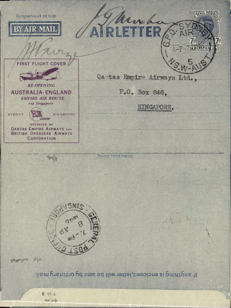 (Collections) Australia 1929-55, a fine selection of 16 first flights including 1946 first post war civilian service Sydney-Singapore 8/4 purple o/p 7d air letter signed Furze & Moxham; 1929 2/6 Adelaide-Perth; 1930 30/5 Melbourne-Sydney; 1934 Australia-PNG 26/7; 1934 registered dual frank Australia-PNG-Australia 2/8; 1934 6/12 Brisbane-London souvenir cover; 1937 30/8 ANA Brisbane-Adelaide; 1938 31/5 Youami-Perth 2/6 and return; 1940 1/5 Australia-NZ inaugural Flying Boat Service special cover.On our web site you can inspect a front and back life size image of every cover in the collection. So view in the comfort of your own home and avoid the cost and hassle of a journey to the auction house and any risk of having to bid blind.