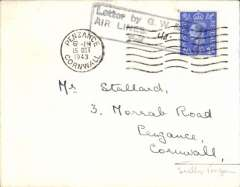 """(GB Internal) Great Western anfd Southern Airlines introduction of wartime Penzance-Scilly Isles airmail sevice, flown cover from Scilly Isles to Penzance at the 4d rate, plain cover franked 2 1/2d cancelled Penzance machine postmark applied on arrival, black framed """"Letter by GW & SR/Airlines/Paid (ms 4d) """" to denote payment of airmail charge. The service was introduced to cope with the influx of service personnel to the islands. See Lister P., p7."""