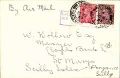 """(GB Internal) Great Western and Southern Airlines, introduction of wartime Penzance-Scilly Isle airmail sevice, flown cover from Penzance to Scilly Isles at the 4d rate, plain cover franked 2 1/2d cancelled Scilly Isles cds applied on arrival, violet framed """"Letter by GW & SR/Airlines/Paid (ms 4d) """" to denote payment of airmail charge. The service was introduced to cope with the influx of service personnel to the islands. See Lister P., p7."""