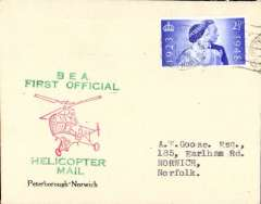 (GB Internal) Inauguration first helicopter-operated public mail service, Peterborough to Norwich, printed souvenir cover, BEA