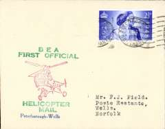 (GB Internal) Inauguration first helicopter-operated public mail service, Peterborough to Wells, bs, printed souvenir cover, BEA