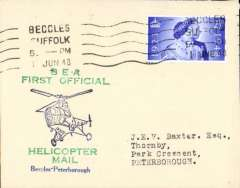 (GB Internal) Inauguration first helicopter-operated public mail service, Beccles to Peterborough, bs, printed souvenir cover, BEA