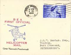 (GB Internal) Inauguration first helicopter-operated public mail service, Great Yarmouth to Peterborough, printed souvenir cover, BEA