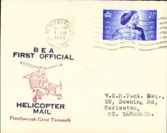 (GB Internal) Inauguration first helicopter-operated public mail service, Peterborough to Great Yarmouth, printed souvenir cover, BEA