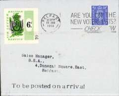 (GB Internal) BEA first Liverpool-Belfast Airway Letter with 6d BEA stamp, plain cover franked 2 1/2d  posted on arrival in Belfast, 16 Jan 1951 machine cancel, 'To Be Posted On Arrival' hs on front, and black two line 'BEA 16 Jan/Liverpool' hs verso.