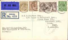 (GB External) London to Peru, first acceptance of UK mail for carriage via  S.S. Aquitania to New York, then FAM 5&9 to Lima, bs 1/11, registered (label) cover franked 2/6d seahorse, 1/-, 5d and 1/2d, correctly rated to include 3/6d per 1/2oz air fee, dark blue/black airmail etiquette tied by Dorking 10 OC 29 cds, also oval registered Dorking ds verso. A superb early item in fine condition.