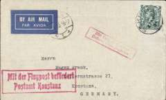 """(GB Internal) Last mail from St. Kilda, the remotest part of the British Isles, the last airmail from Scotland's Outer Hebrides. On 29 August 1930, the island was evacuated and the remaining 36 inhabitants removed to the Scottish mainland at their own request. Imprint airmail etiquette cover franked 4d, canc 'St. Kilda/27 AU 30' cds, part flown from London to Konstanz, Germany, fine strike red framed """"Mit Luftpost befordert /Postamt Konstanz"""" Bremerhaven"""" arrival confirmation hs, also Koln/30.8.30 transit cds cancelling airmail etiquette, and red framed """"Mit Luftpost befordert /Postamt Koln Flughafen"""" transit confirmation hs."""