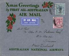 "(GB External) New Zealand acceptance for Kingsford Smith's return flight, England to Australia,"" All the Way"" Christmas and New Year flight, London to Timaru bs 28/1/32, via Sydney 21/1/32, grey/red/green ""Xmas Greetings"" Australia National Airways souvenir cover, correctly rated 1/4d, canc London FS/Air Mail cds."