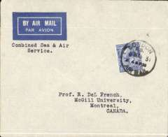 (GB External) St. Lawrence Seaway  North Atlantic air-sea acceleration service 1927-39, London-Rimouski-Montreal, first acceptance of British airmails for the Canadian route, London to Montreal, no arrival ds, imprint airmail etiquette cover addressed to McGill University, franked 2 1/2d, canc London/Air Mail cds. Correctly rated 2 1/2d for the inclusive fee. Francis Field authentication hs verso.
