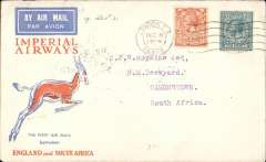 (GB External) Christmas proving flight, London to Simonstown, South Africa, bs 22/12, via Johannesburg 21/12 and Cape Town 21/12, carried on Imperial Airways Christmas Flight, blue/orange/cream Springbok souvenir cover franked 1/-, 75 flown.
