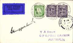 (Ireland) Scarce acceptance of mail from Ireland for Australia, for carriage on the  Imperial Airways First Experimental Extension London-India to Australia service, Dublin to Darwin, bs 25/4, Smye cover franked 1/6 1/2d, canc Baile Atha Ciath cds, dark blue/black airmail etiquette. The plane (City of Cairo) made forced landing near Kupang on 19/4, mail carried to Darwin by Kingsford Smith, and on to Melbourne by Qantas. Signed by the pilot Sir Charles KIngsford Smith. A superb item in fine condition.