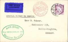 (Ireland) Special flight, Dublin to Berlin, official green oval flight cachet, red Berlin C2 receiving cachet, bs 'Berlin C/22.10.32/L2', 1928 etiq rated scarce by Mair, plain cover franked 6d, canc Dublin cds.