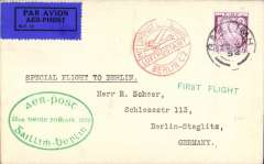 (Ireland) Special flight, Dublin to Berlin, official green oval flight cachet, green 'First Flight' cachet, red Berlin C2 receiving cachet, bs 'Berlin C/22.10.32/L2', 1928 etiquette rated scarce by Mair, plain cover franked 6d, canc Dublin cds.