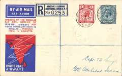 "(GB External) ""London Monetary Economic Conference"", carried on F/F regular service London to Allahabad, bs 8/7, boxed rectangular ""Karachi-Calcutta"" arrival cachet verso, registered (London Monetary Economic Conference label) official red/white/blue Imperial Airways/India Trans-Continental Airways souvenir cover,  franked KGV 1d & 10d, canc special ""London Monetary Economic Conference"" cds. There are four nice strikes (two front, two verso) of this Special Event postmark Whitney #197, cat £30. Francis Field authentication hs verso."