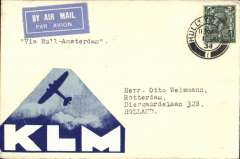 "(GB External) KLM F/F Hull to Amsterdam, bs Rotterdam 1/6, airmail etiquette cover correctly rated 4d, typed endorsement ""Via Hull-Amsterdam"", large triangular KLM propaganda vignette on front. Francis Field authentication hs verso.."