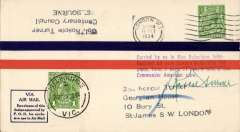 (GB External) London-Melbourne Air Race signed by pilot, airmail cover postmarked London October 11, 1934 and with arrival d/s Melbourne October 29 on front, special four line flight cachet. Roscoe Turner and Clyde Pangborn, an American crew, flew a Boeing 247-D ?Warner Bros. Comet?. They placed third overall and 2nd in the speed category. This cover is signed by Colonel Roscoe Turner. A brown/cream souvenir card, 17x12cm showing picture of plane and inset head & shoulders of Roscoe Turner and flight timetable is included.