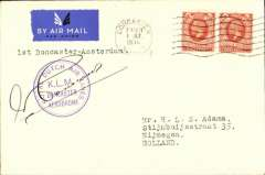 "(GB External) F/F Doncaster to Amsterdam, no arrival ds, carried on the KLM inaugural Liverpool-Doncaster-Amsterdam-Norrkoping-Stockholm service, violet circular 'KLM/Doncaster Aerodrome""  first dispatch cachet, typed ""1st Doncaster-Amsterdam"". cover, plain cover correctly rated 4d. Signed by the pilot Capt. Hondong. A 500 word article about this new service which icludes a picture of the mails being handed to the mayor of Doncaster before departure, accompanies this item."