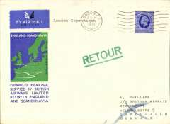 (GB External) Imperial Airways New England -Scandinavia service, London to Copenhagen, b/s 17/3, rated 2 1/2d, official blue/green souvenir cover franked 2 1/2d.