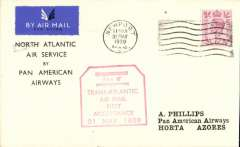 "(GB External) First GB acceptance for Horta, bs 2/6, carried on F/F Pan Am North Atlantic Service to New York, franked 6d cancelled Newport cds, red hexagonal boxed ""Trans-Atlantic/Air Mail/Fist/Acceptance/31 May 1939"" cachet (see Bergier p167), printed ""North Atlantic/Air Service/by/Pan American/Airways"" souvenir cover, Pan Am."