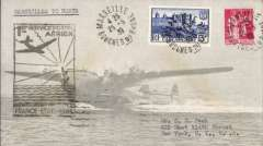 (France) Pan Am F/F Marseilles to Horta, bs 25/5, scarce BLACK cachet, attractive air grey/light grey cover with embedded flying boat image franked 5F and 1F25.