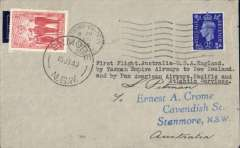 """(Australia) F/F Australia to England via New Zealand and by Pan Am Pacific and Atlantic services, Australia to England, Crome imprint etiquette cover franked Australia 2d, canc Enmore 15 Jly 40 cds, and GB 2 1/2d canc 3/8, typed """"First Flight Australia-USA-England/by Tasman Empire Airways to New Zealand/and by Pan American Airways Pacific and Atlantic Services"""". The rate for this new service was 5/10d. This cover was posted on the first day of the new service, and the transit time could only have been achieved by air. So it seems the sender thought the Commonwealth 'Al Up' rate applied."""