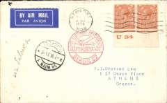 (GB External) Newport to Athens, bs Salonica 2/6, via Berlin C2 1/6 and Vienna Flugpost 1/6, Phillips to Drossos, dealer to dealer cover franked KGV 2d control pair, ms 'Via Salonika', blue/white airmail etiquette. Interesting.