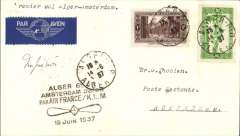 (Algeria) Air France/KLM F/F Alger to Amsterdam, bs 16/6, airmail etiquette cover franked 1F30, black four line 'propeller' flight cachet.
