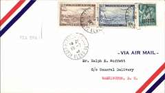 "(Algeria) RARE TWA, F/F alternate routing from Madrid to Cairo, via Algiers,  Algeria to Washington, bs 18/7, airmail cover franked 31F, canc Alger cds, typed ""Via TWA"". Very rare, unlisted in AAMC."