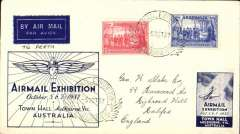 (Australia) Airmail Exhibition Melbourne, registered souvenir cover addressed to England, no arrival ds, franked 4d canc special exh. pictorial cancellation, blue/white Air Mail Exhibition Melbourne vignette.